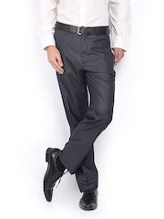 V Dot Men Grey Slim Fit Formal Trousers