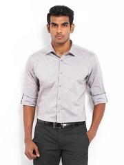 V Dot Men Grey Slim Fit Smart-Casual Shirt