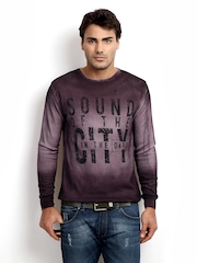V Dot Men Burgundy Ombre Sweater