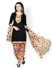 Vaamsi Black & Beige Printed Cotton Unstitched Dress Material