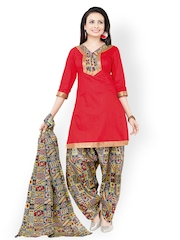 Vaamsi Red Printed Cotton Unstitched Dress Material
