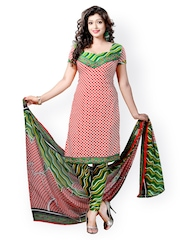Vaamsi Red & Green Printed Unstitched Dress Material