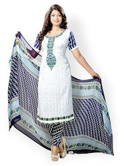 Vaamsi White & Blue Printed Unstitched Dress Material