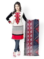 Vaamsi White & Black Printed Crepe Unstitched Dress Material