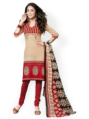 Vaamsi Beige & Black Printed Cotton Unstitched Dress Material