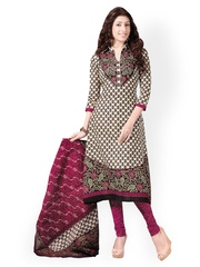 Vaamsi Off-White & Magenta Poly Cotton Unstitched Dress Material