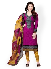 Vaamsi Purple & Mustard Yellow Cotton Unstitched Dress Material