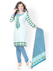 Vaamsi White & Blue Printed Cotton Unstitched Dress Material