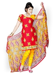 Vaamsi Red & Yellow Printed Crepe Unstitched Dress Material