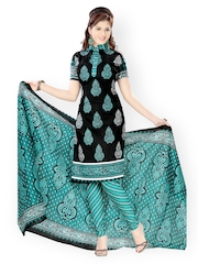 Vaamsi Black Printed Cotton Unstitched Dress Material