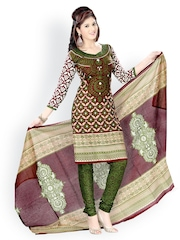 Vaamsi Brown & Green Printed Cotton Unstitched Dress Material