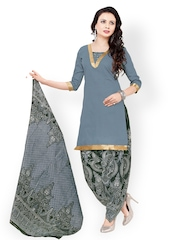 Vaamsi Grey Printed Cotton Unstitched Dress Material
