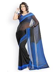 Vaamsi Black Georgette Printed Saree