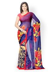 Vaamsi Blue & Beige Georgette Printed Saree
