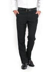 Van Heusen Men Blue Striped Custom Fit Formal Trousers