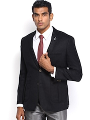 Van Heusen Men Black Woollen Single-Breasted Slim Fit Blazer