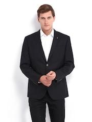 Van Heusen Men Black Wool Blend Slim Fit Blazer