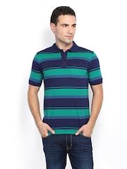 Van Heusen Men Blue & Green Striped Polo T-shirt