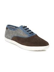 Men Brown & Grey Suede Casual Shoes Van Heusen