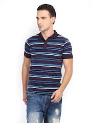 Van Heusen Men Dark Purple & Blue Striped Polo T-shirt
