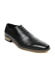 Van Heusen Men Black Leather Semiformal Shoes