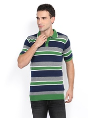 Van Heusen Men Green & Grey Striped Polo T-shirt