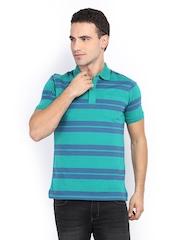 Van Heusen Men Green & Navy Striped Polo T-shirt