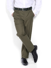 Van Heusen Men Green Custom Fit Formal Trousers