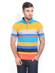 Van Heusen Men Multicoloured Striped Polo T-shirt