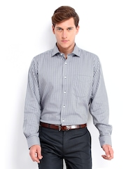 Van Heusen Men Grey & Lavender Checked Custom Fit Formal Shirt