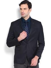 Van Heusen Men Navy Single-Breasted Slim Fit Blazer