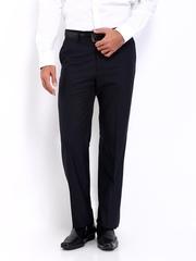 Van Heusen Men Navy Wool Blend Custom Fit Formal Trousers