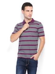 Van Heusen Men Purple & Grey Striped Polo T-shirt