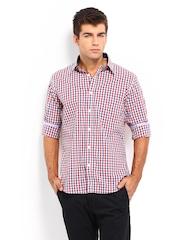 Van Heusen Sport Men Blue & Red Checked Slim Fit Casual Shirt