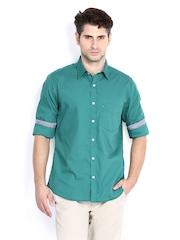 Van Heusen Sport Men Green Slim Fit Smart-Casual Shirt