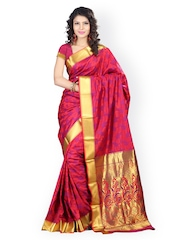 Varkala Silk Sarees Red & Purple Art Silk & Jacquard Traditional Saree