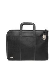 Vaunt Unisex Black Leather Laptop Bag