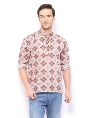 Veda Men Off-White & Brown Printed Short Kurta