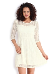 Vero Moda Cream-Coloured Fit & Flare Dress