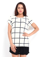 Vero Moda Women White & Navy Checked T-shirt