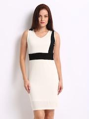 Vero Moda White & Black Colour Blocked Claire Jersey Dress