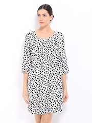 Vero Moda White & Black Leopard Print Shift Dress