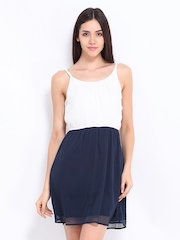 Vero Moda White & Navy Fit & Flare Dress