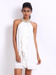 Vero Moda White Beaded & Ruffled A-Line Dress