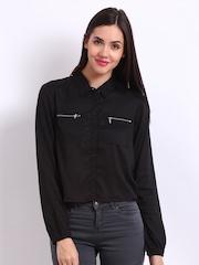 Vero Moda Women Black Cropped Casual Shirt