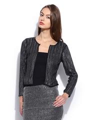 Vero Moda Marquee by Karan Johar Women Black Shimmer Blazer