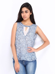 Vero Moda Women Blue & White Floral Print Top