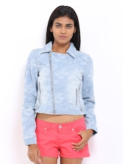 Vero Moda Women Blue Biker Denim Jacket