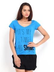 Vero Moda Women Blue Printed T-shirt