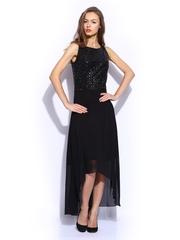 Vero Moda Marquee by Karan Johar Black Sequinned High Low Dress